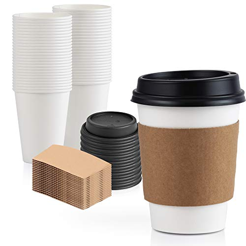 [50 Pack] 12 oz Hot Beverage Disposable White Paper Coffee Cup with Black Dome Lid and Kraft Sleeve Combo, Small Tall