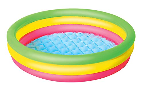 "Ossian Colourful 40"" Three Ring Paddling Pool – Inflatable Blow Up Round Padded Swimming Pool with Wide Vinyl Sides for Extra Safety – Great Kids Summer Sun Outdoor Garden Toy for Children Fun Splash"