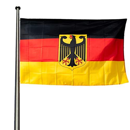 KliKil Flagge Deutschland mit Adler Resistant Außen 90 x 150 cm - 1 Flagge Deutschland - Banner Farben wetterfest - Deutschland Flagge 150 x 90 cm verstärkt
