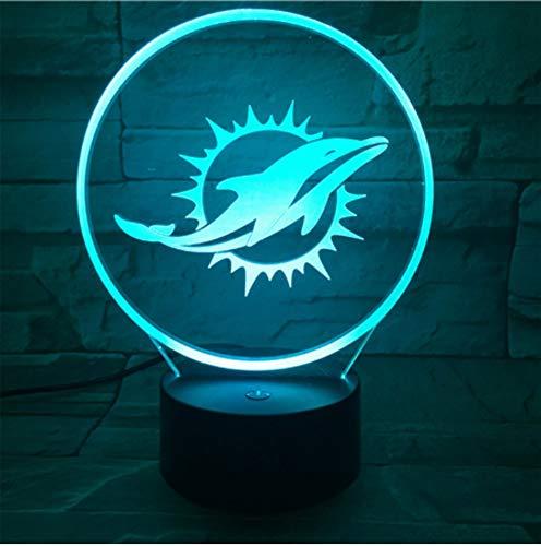 Klsoo Miami Dolphins Nachtlampe Schlafzimmer Usb Touch Kinder Kinder Geschenk Team Logo Led Nachtlichter American Football