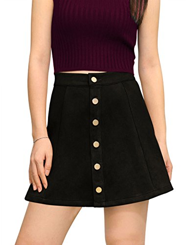 Allegra K Women's Faux Suede Single Breasted Front Button Down Short Mini A-Line Skirt M Black