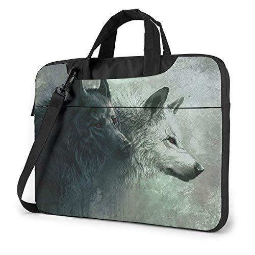 Neoprene Laptop Sleeve Case, Cool Wolf Black White Portable Laptop Bag Business Laptop Shoulder Messenger Bag Protective Bag 13 Inch