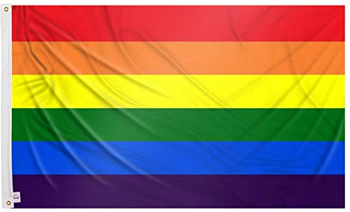 Ericraft Bandera LGTB Grande 90x150cms Bandera Gay balcón para Exterior Reforzada y con 2 Ojales metálicos, Bandera Orgullo Gay Pride Flag Bandera Arcoiris LGBT Flag