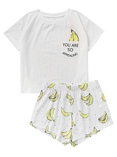DIDK Women's Cute Cartoon Print Tee and Shorts Pajama Set White Banana L