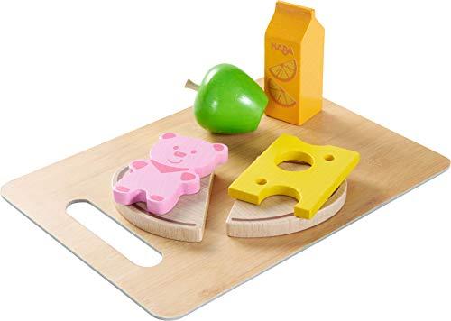 HABA 304266 - Frühstücks-Set Guten Morgen; Zubehör für Kaufladen und Kinderküche mit Brot, Käse, Wurst, Apfel und Saft, Holzspielzeug ab 3 Jahren