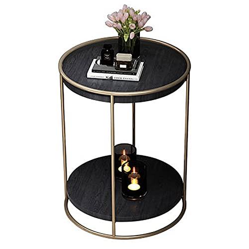 WUDAXIAN Tavolino da caffè con Gambe industriali in Metallo e ripiano in Legno massello 40x40x50cm, tavolino da Cocktail per Soggiorno