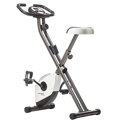 skandika Foldaway X-1000 Fitnessbike Heimtrainer x-Bike F-Bike klappbar mit Handpuls-Sensoren, 8-stufiger Magnetwiderstand, LCD Display, 130 Kg max. Gewichtsbelastung (weiß)