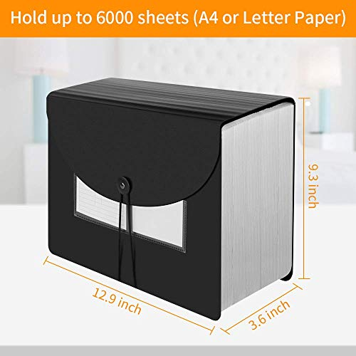 AFMAT Accordian File Organizer, Expanding File Folder File Organizer, Document Organizer with Expandable Cover,60 Pockets, 6000-Sheet Capacity, with Tabs & Inserts, A4/Letter Size, See-Through Pocket Photo #3