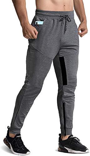 FLYFIREFLY Calça masculina esportiva para academia, musculação, treino, corrida, Linen Grey, Large