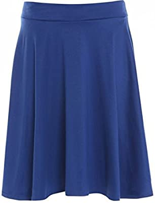 FASHION FAIRIES Ladies Plain Elasticated Waist Midi Skirt Womens Flared Skater Skirt Plus Size