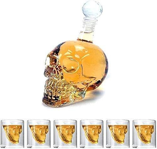 Decantadores de whisky Decanter Skull Vino Whisky Vodka Gafas Set Skull Glass Decanter y gafas Conjunto con un diseño de doble pared con tapón con 6 gafas de whisky de 75 ml para el bar de la fiesta d
