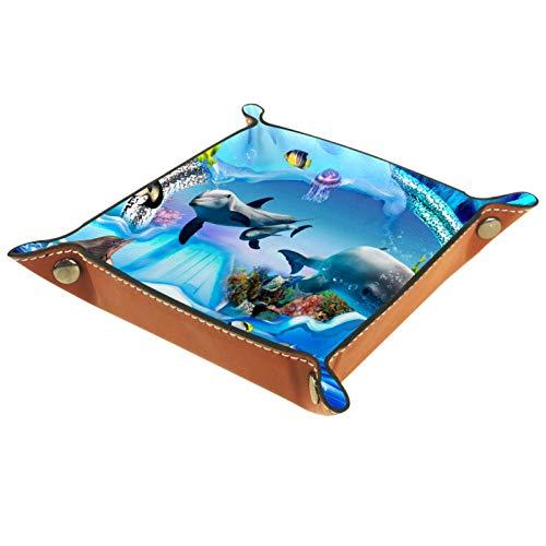 FURINKAZAN Valet Tray Wechselgeldbehälter Nachttisch Aufbewahrungsbox Delfin Pinguin Jelly Aquarium