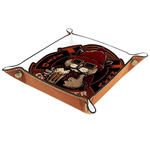 Bandeja de cuero Gato con cerveza Bandeja Organizador Catchall Llavero Joyas Relojes de teléfono Bandeja de baratijas de monedas de caramelo para hombres y mujeres 16x16cm
