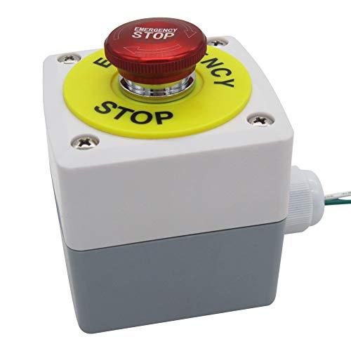 Mxuteuk - Interruptor de botón de parada de emergencia (22 mm, acero inoxidable, 12-220 V, 3 A, 1 NC, caja de estación de conmutación, 1 año de garantía MXU-DT-SH
