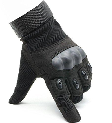 OMGAI Männer Voller Finger Militärische Taktische Handschuhe Des Harten Knöchel Mit Klettverschluss für Airsoft Armee Paintball Motorrad Outdoor Sport Schwarz M