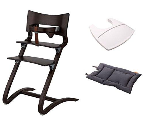 Leander Stuhl walnuss - Hochstuhl - Kinderstuhl - Erwachsenenstuhl mit Babybügel + Tablett weiß + Kissen dark grey