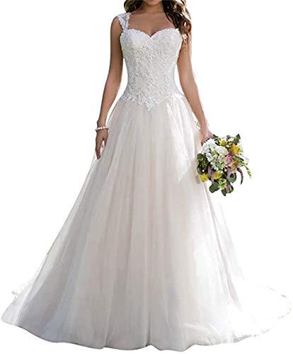 XUYUDITA Langes Hochzeitskleid Spitze Brautkleid A Linie Sweetheart Tüll Hochzeitskleid Gr. 44, weiß