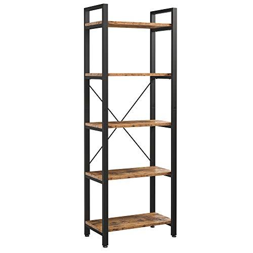 IRONCK Bookshelf, 5-Tier Ladder Shelf 110lbs/shelf Vintage Industrial Style Bookcase for Home Decor, Office Decor