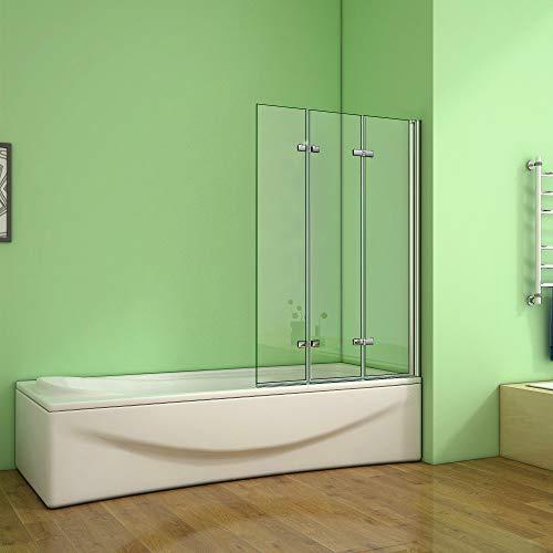 Aica Sanitär Badewannenaufsatz Duschabtrennung 130x140cm 3-teilig Faltbar Duschwand für Badewanne