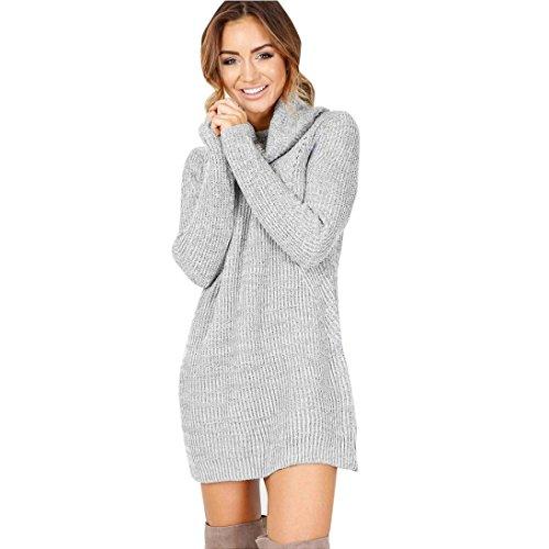 Vestido de Otoño Invierno Mujer, Amlaiworld Mujeres Casual Manga Larga suéteres Jersey Chaqueta (M, Gris)