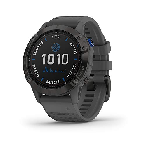 Garmin fenix 6 Pro Solar, Solar-Powered Multisport GPS Watch, Advanced Training Features and Data, Black with...