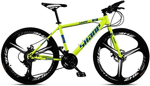 XinQing-Bike 24 Inch Mountain Bikes, Dual Disc Brake Hardtail Mountain Bike, Mens Women High-carbon Steel All Terrain Alpine Bicycle (Color : 24 Speed, Size : Yellow 3 Spoke)