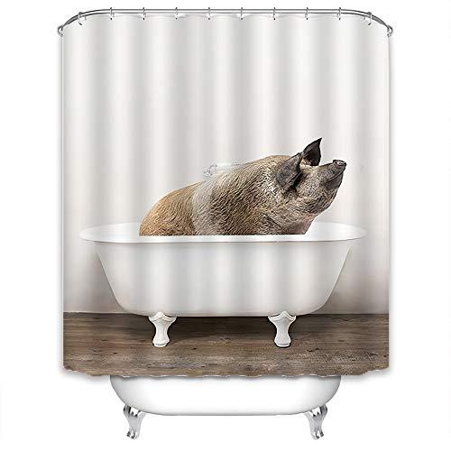 Xlabor Süß Tier Duschvorhang Badewannevorhang Wasserdicht Anti-Schimmel Stoff inkl. 12 Duschvorhangringe für Badezimmer Schwein 180x200cm