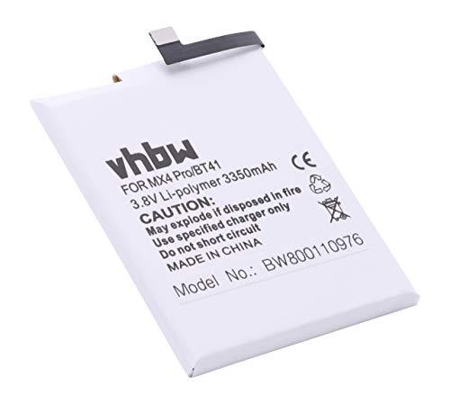 vhbw Li-Polymer batería 3350mAh (3.8V) para teléfono móvil Smartphone Meizu M462U, MX4 Pro, MX4SWDS0 por BT41, N0004720, US525972H4.