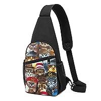 猫の帽子 斜め掛け ボディ肩掛け ショルダーバッグ ワンショルダーバッグ メンズ 多機能レジャーバックパック 軽量 大容量