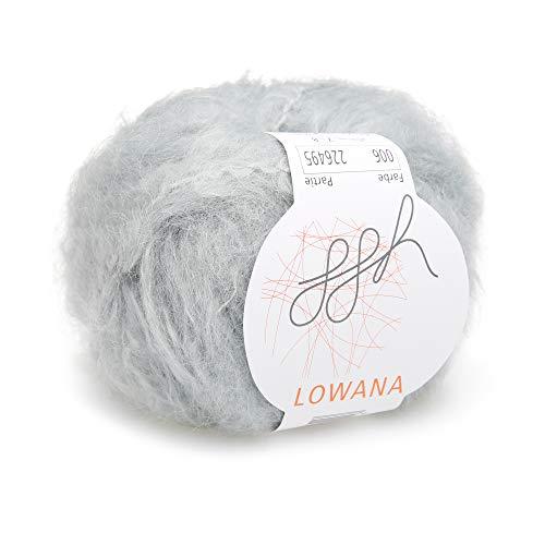 ggh Lowana, Farbe:006 - Hellgrau, Mohairwolle Mischung, 50g Wolle als Knäuel, Lauflänge ca.60m, Verbrauch 400g, Nadelstärke 7-8, Stricken