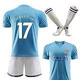 Uniforme de Football n ° 10, De Braun, Aguero, vrai Maillot de fan-blue17-M