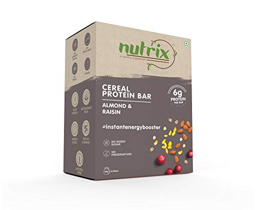 NUTRIX Almond & Raisin Cereal Protein Bar For Men, Women & Kids 240 Gram Pack – 6 Pc Box, 40 gm Energy Bar with No Added Refined Sugar – A Healthy Supplement