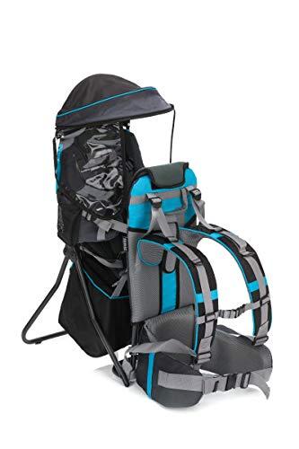 Fillikid Babytrage Rückentrage Baby Exclusiv | Rücken Babytrage mit Sonnenschutz & großen Staufächern | Kraxe zum Wandern mit Baby und Kleinkind | Tragesitz bis 20 kg, Design:grau/blau
