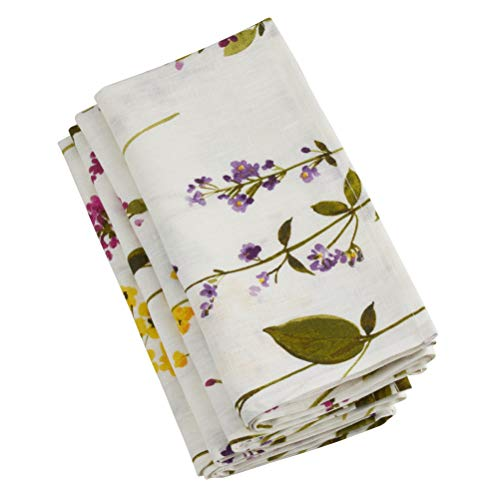"""SARO LIFESTYLE Botanical Garden Collection Watercolor Floral Stems Table Napkins (Set of 4), 20"""" Off-White"""