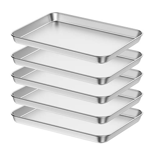 Baking Sheet Set of 5, Bastwe 18 inch Commercial Grade Stainless Steel Baking Pan, Professional Bakeware Oven Tray, Healthy & Non-toxic, Rust Free & Mirror Finish, Easy Clean & Dishwasher Safe
