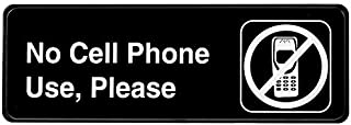 Alpine Industries No Cell Phone Use Sign - Weather Proof Black Plastic No Cellphone/Phones Placard w/Adhesive Back - Easy Wall Post for Work, School Classroom & Wedding