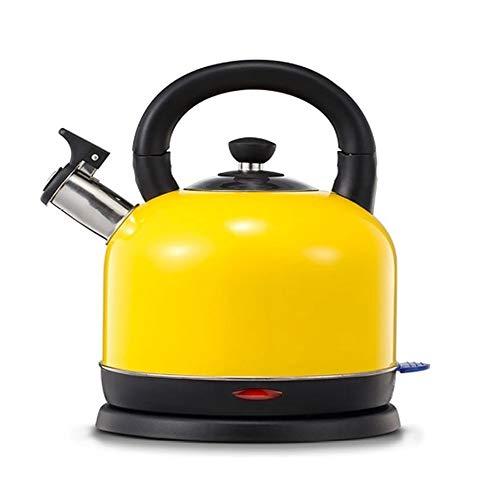 XYY Bollitore Elettrico, fischio bollitore elettrico, 2L, 1500W, Spegnimento Automatico all\'ebollizione con protezione Boil-dry, BPA Free, Giallo