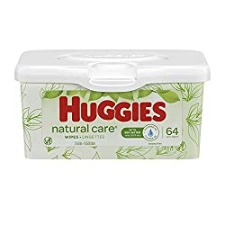 HUGGIES Natural Care Unscented Baby Wipes, Sensitive, Water-Based, Refillable Pop-Up Tub, 64 Count T