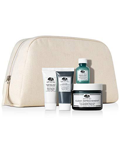 Origins Checks & Balances Frothy Face Wash 0.5oz, Clear Improvement Active Charcoal Mask 0.5oz, Super Spot Remover Acne Treatment Gel 0.3oz & Clear Improvement Pore Clearing Moisturizer, 1.7oz