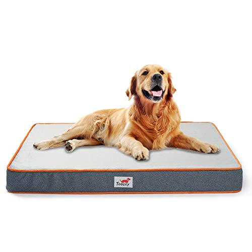 Toozey Orthopedic Memory Foam Dog Beds for Large Dogs, 2-Layer Thick High-Density Mattress Washable Dog Crate Bed with Removable Cover and Waterproof Liner, Premium Plush Pet Dog Bed Mat - L
