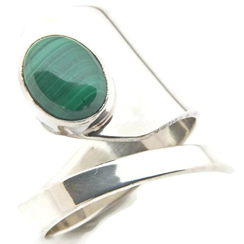 Malachit Ring 925 Silber Sterlingsilber Damenring grün verstellbar (MRI 99-10)