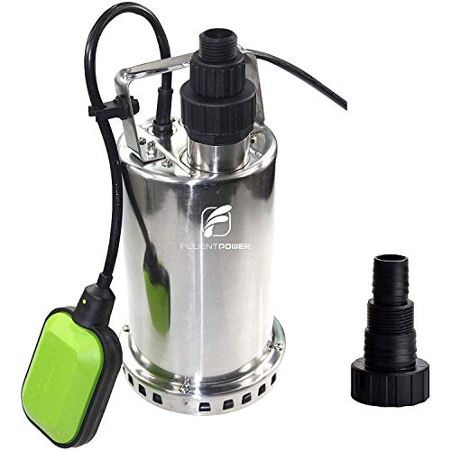 FLUENTPOWER 3/4 HP Utility Pump, Full Stainless Casing Submersible Sump Water Pump, Max Lift 27 Ft,...