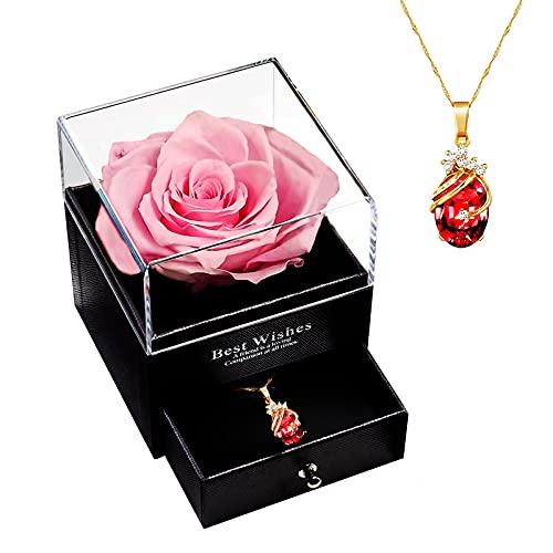 MINCHEDA Rosa Stabilizzata con Collana, Rosa Eterna Confezione Regalo per San Valentine/Festa della Mamma/Anniversario/Compleanno/Natale per Donne