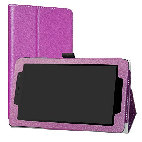 Alcatel 1T 7 Inch Funda,LiuShan Folio Soporte PU Cuero con Funda Caso para 7' Alcatel 1T 7 Inch 8068(Not fit Alcatel 1T 8082 10inch) Android Tablet,Púrpura