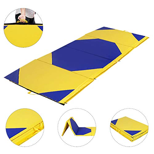 Giantex 4'x10'x2 Gymnastics Mat Thick Folding Panel for Gym Fitness with Hook & Loop Fasteners...
