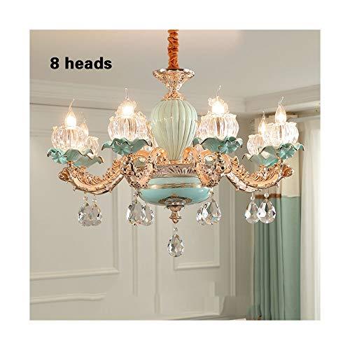 QCQ Araña de estilo europeo Sala de estar de cerámica Lámpara de cristal Restaurante Lámpara de dormitorio Moderno hogar Edificio dúplex Araña francesa de lujo (Size : 8 heads)