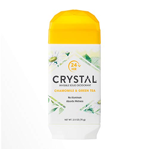 CRYSTAL Invisible Solid Deodorant- Chamomile & Green Tea Body Deodorant, 24-Hour Odor Protection, Wetness Absorbing Non-Sticky Deodorant, Aluminium Chloride & Paraben Free, 2.5 FL OZ