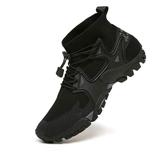 Oceansee Zapatos de Senderismo Transpirables de Malla, Zapatillas de Deporte para Hombre, senderos al Aire Libre, Senderismo, Escalada, Zapatos Deportivos para Hombre, Verano, Negro 8
