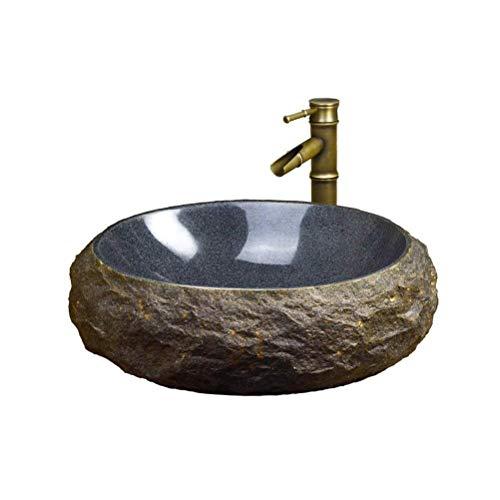 MZH QRYY Lavabo de Resina Piedra Natural Lavabo de Piedra An