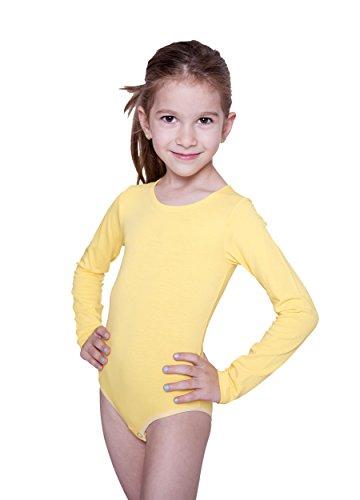 Evoni - Body de manga larga con cuello redondo y botones de presión en la entrepierna amarillo 128